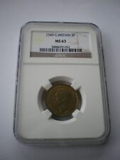 More details for 1949 brass 3d threepence - ngc slabbed ms63 - very rare