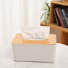 Wooden Cover Plastic Tissue Box Paper Holder Dispenser Organizer For Home Car fd