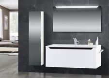 Design Badmöbel Set Waschtisch 120 cm Schwarz Hochglanz Griffleiste : Schwarz Ho