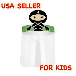 NEW! Ninja Kids Boys Girls Face Shield Anti Splash Fog Plastic HD Clear Mask