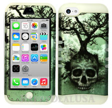 For Apple iPhone 5c KoolKase Hybrid Armor Silicone Cover Case - Skull Tree 06