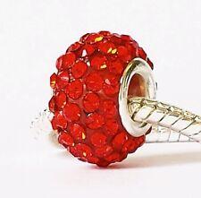 Red rhinestone European bead.