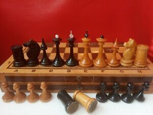 Vintage Russian wooden chess set from the 60s.