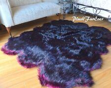 "58"" x 72"" Black Pink Wolf Plush Sixto Sheep Exotic Faux Fur Cabin Decor"