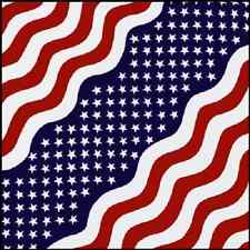 America Wavy Stars & Stripes Cotton Bandana Scarf Handkerchief Hanky 22X22 Inch