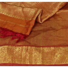 "Sanskriti Vintage Pure Silk Woven Design Fabric Decor Dark Red Craft 43""X46"""