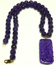 """CHINESE EXPORT CARVED AMETHYST DRAGON PENDANT 14K GOLD NECKLACE WOMENS 16"""""""