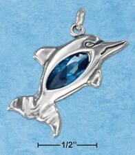 STERLING SILVER DOLPHIN CHARM WITH OVAL BLUE CUBIC ZIRCONIA WITH A NECKLACE