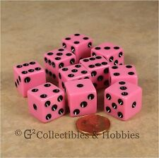 NEW 10 Pink w/ Black Pips D6 6 Sided RPG Bunco Game Dice Set 16mm