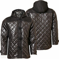 Mens Diamond Padded Quilted Hunter Style Jacket Hooded Lined Black MJ-Bronco