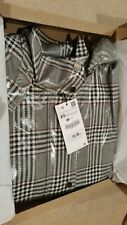 ZARA BLACK WHITE RED WATERPROOF CHECKED TRENCH COAT WITH HOOD JACKET,SIZE XS