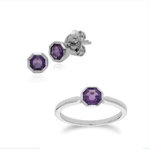 Sterling Silver Amethyst February Octagon Stud Earring & Ring Set