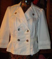 White House Black Market Jacket sz 4 White Mini Short Trench Military Coat NEW