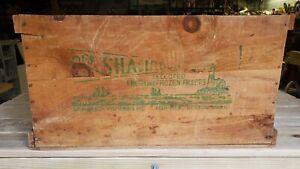 Vintage Wooden Advertising Box Shipping Crate Shamrock Fisheries Fillets Boston