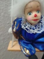 Vintage porcelain faced clown on swing - Royal blue and gold stars small 50cm
