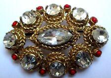 broche ancienne gravé cristaux diamant émail orange bijou vintage couleur or 54