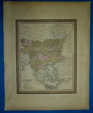 1849 S A Mitchell Universal Atlas Map ~ TURKEY in EUROPE ~ Old Authentic