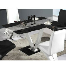 Modern Glass Dining Living Room Table 6 Chairs Black Kitchen Bistro Table Only