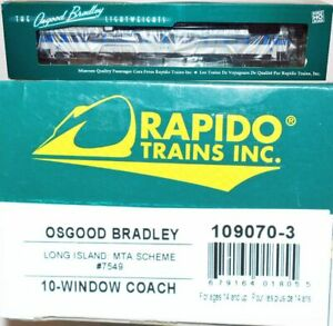 Long Island 7549 MTA Scheme 10-Windoww Coach Rapido 109070-3 HO Scale JA22.14