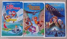 Lot of 3 Disney VHS movies - Rescuers, Rescuers Down Under, Atlantis Lost Empire