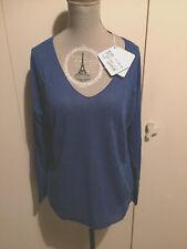 maglione donna cruciani 100% lino blu acceso scollo v nuovo taglia 40