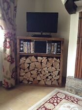 A Brittany Inspirations Handcrafted Corner TV Unit and Log Store