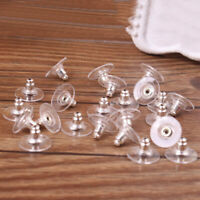 50Pcs Clear Earring Backs Safety Stoppers Silver Gold Rose Gold Plated Soft