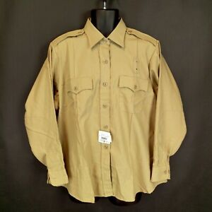 New NWT Flying Cross Women's 48 Reg Tan Long-Sleeve Button-Down Uniform Shirt