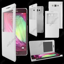 Accessoire Housse Etui Fenêtre View Flip Cover Blanc Samsung Galaxy A5 SM-A500F