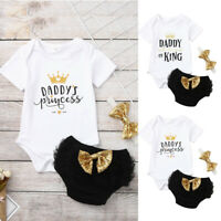 Newborn Kids Baby Girls Outfits Set Daddy's Princess Tops Romper+Tutu Shorts Set