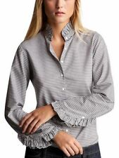 GAP - NWT - horizontal stripe ruffle clooar shirt  - size L