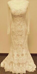 Oleg Cassini Illusion Long Sleeve Wedding Dress Ivory Nude Size 6 (38-29-34)