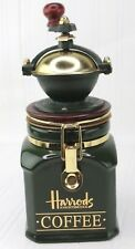 Harrods Knightsbridge Coffee Mill Grinder Airtight Storage Canister Green & Gold