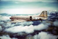 """WWII photo American C-47 """"Skytrain"""" transport plane in the sky over the isla/12k"""