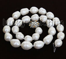 "luster natural baroque 17"" 17mm rice white freshwater pearls necklace j11437"