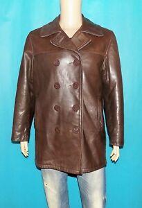 caban SCHOTT 740N PEA JACKET made USA vintage en cuir marron taille 36 us ou 46