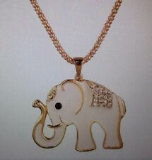 ELEPHANT TRUNK UP ENAMEL AND WHITE CRYSTAL/ WITH 26 INCH GOLD TONE POPCORN CHAIN
