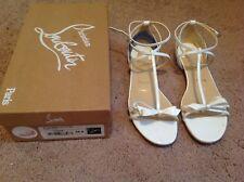 Womens Christian Louboutin White Patent Flat Fashion Blakissima Size 38.5