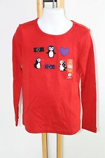 Gymboree Holiday Penguin Chalet Girls Size 7 Red Top Shirt Buttons bows NWT NEW