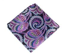 Umberto Algodon Napoli Men's Brown Lavender Paisley Woven Pocket Square