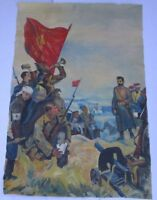 VINTAGE CHINA AND RUSSIA ? WAR PAINTING MILITARY LANDSCAPE MYSTERY ARTIST