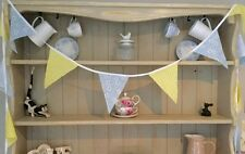 HANDMADE DAISY & YELLOW GINGHAM BUNTING 10ft/3m WEDDING, FLORAL, GIFT SUMMER