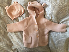 Gap bear Ears Cardigan And Matching Hat Pink Gilrs 3 6 Months