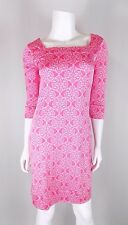 Lilly Pulitzer Pink Silk Medallion Print Square Neck Shift Sheath Dress Sz 0 EUC