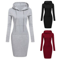 Women Casual Midi Dress Pocket Long Sleeve Hooded Pullover Sweatshirt Jumper Top