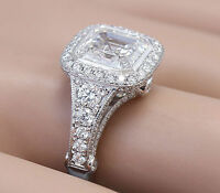 14k Solid White Gold Asscher Cut Diamond Bezel Engagement Ring 3.30ctw