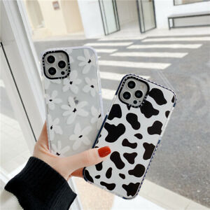 For iPhone 12 11 Pro Max 8 7 SE XS XR Cute Cow Print Back TPU Phone Case Cover