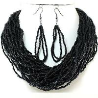 Black Layered Necklace Earrings Seed Bead Jewelry Set Handmade Bali