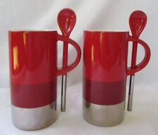 STARBUCKS COFFEE 2014 ESPRESSO VERMISO RED & SILVER 8-OZ COFFEE MUGS W/SPOON