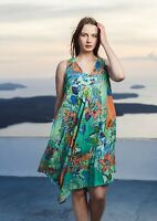 ORIENTIQUE NEW REVERSIBLE 2 looks 1 dress AGENIA 21274 BLUE GREEN Cotton Womens